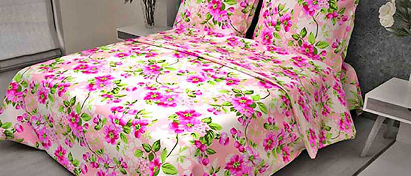 КПБ бязь 1,5сп Яблоневый цвет розовый