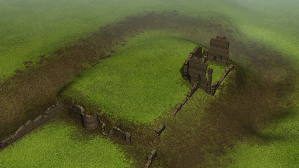 Ariel view of Codnor castle with dry moa