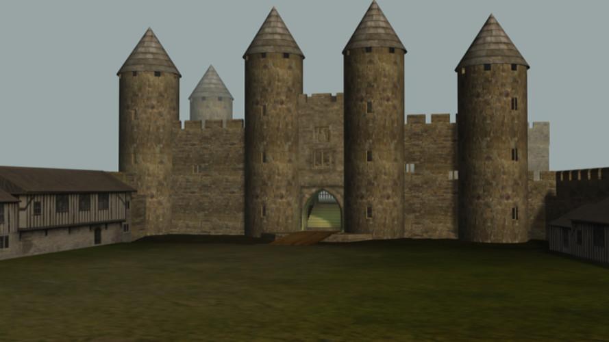 Codnor castle circa 1400-1450 showing ga