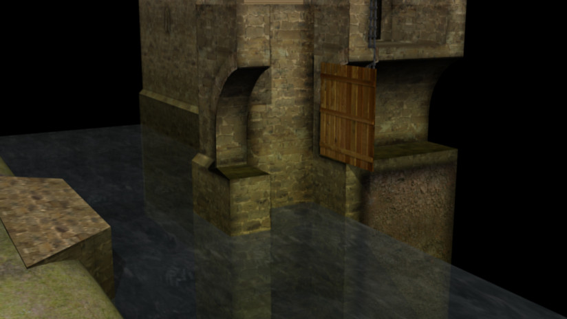 Gatehouse and draw bridge system circa 1
