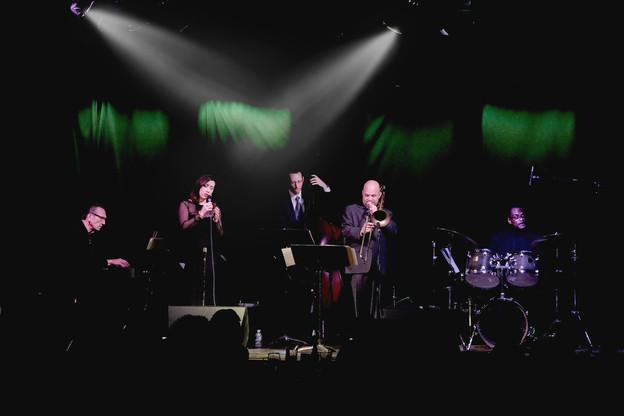 Mason Jazz Faculty at the Richmond Jazz Society. Wade Beach, Regan Brough, Matt Niess, Harold Summey & Darden Purcell.