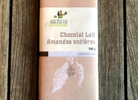 Chocolat lait amandes entières