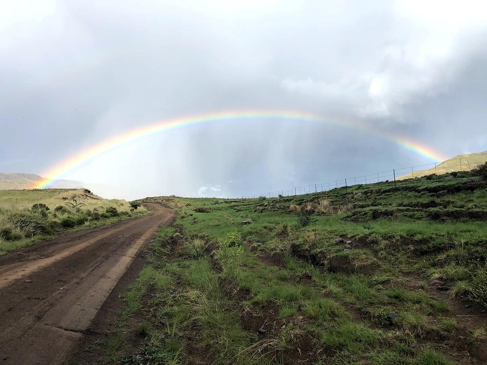 Rainbow, Rhodes, gravel, dirt road, Naude's nek, Mountain pass, Overcast, Offroad