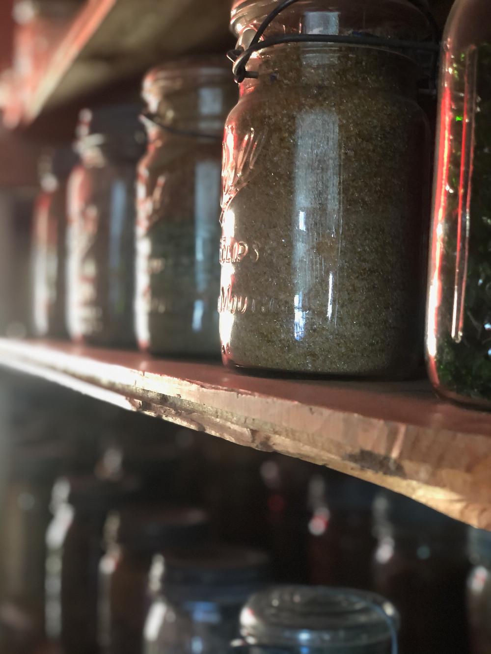 Canfruit jar, Canned fruit jar, glass jar, shelves