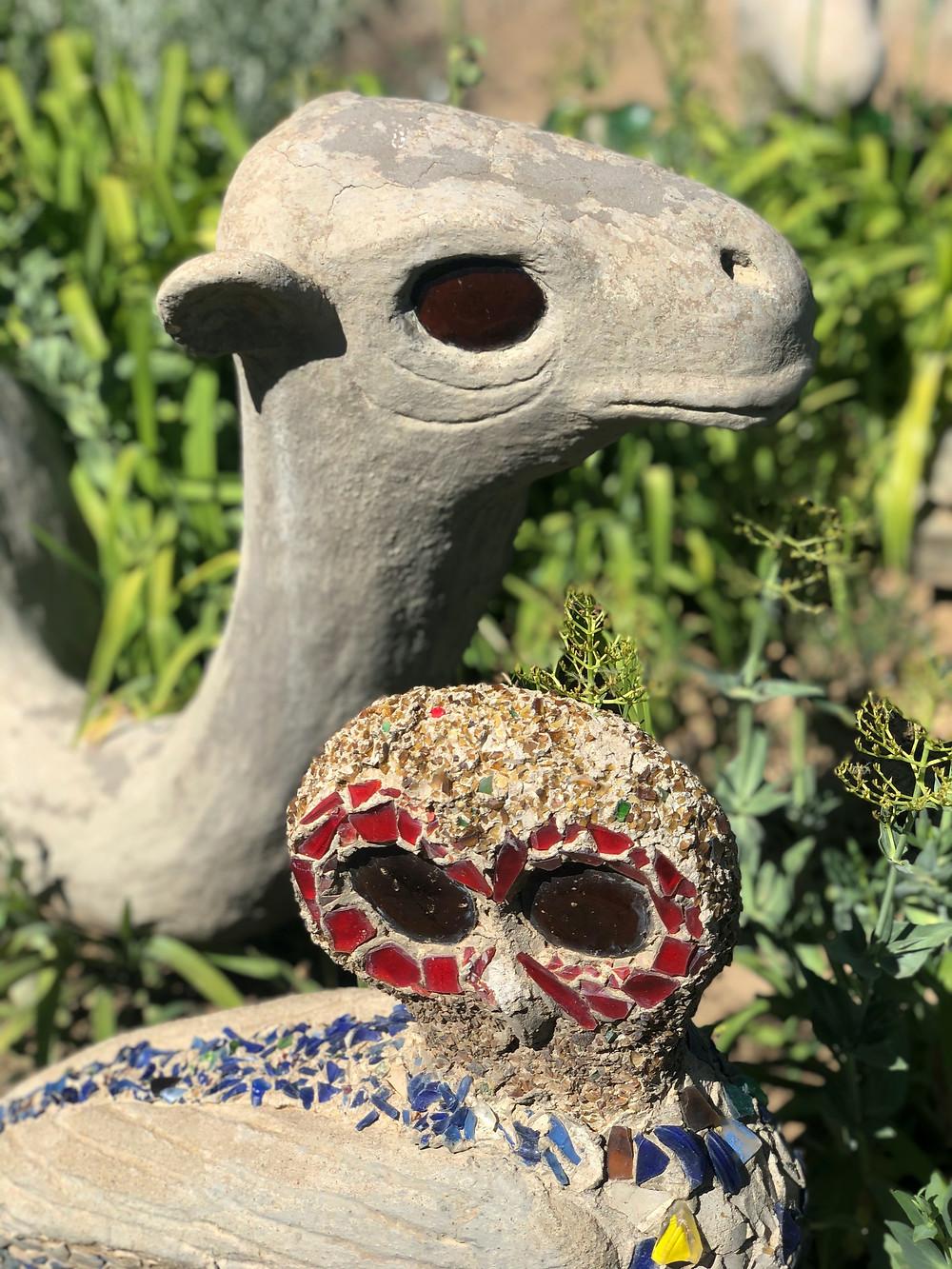 Mosaic owl, crushed glass art, camel yard