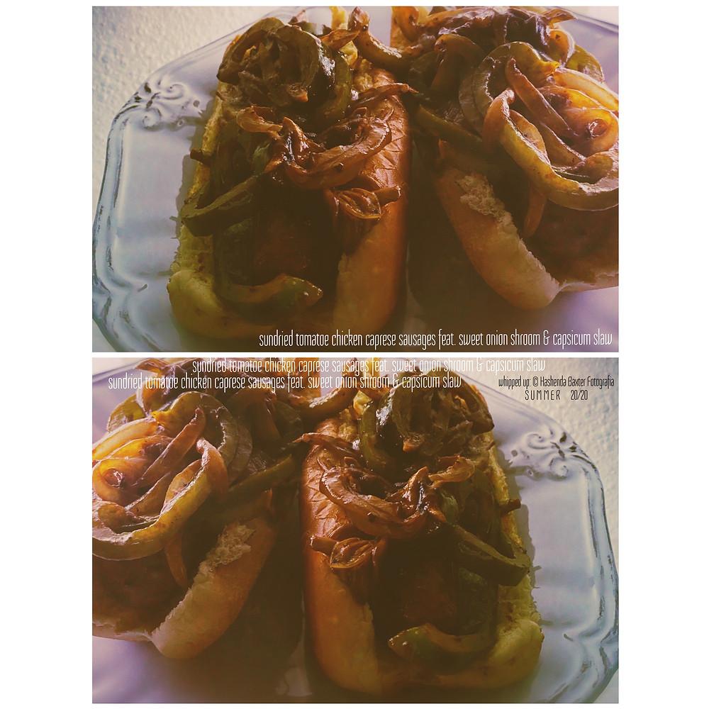 sundried tomatoe chicken caprese sausages feat. sweet onion shroom & capsicum slaw