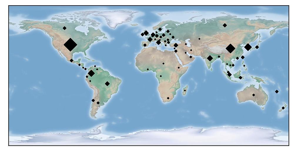 Distribuilção geográfica de infecção. Fonte: Guardicore
