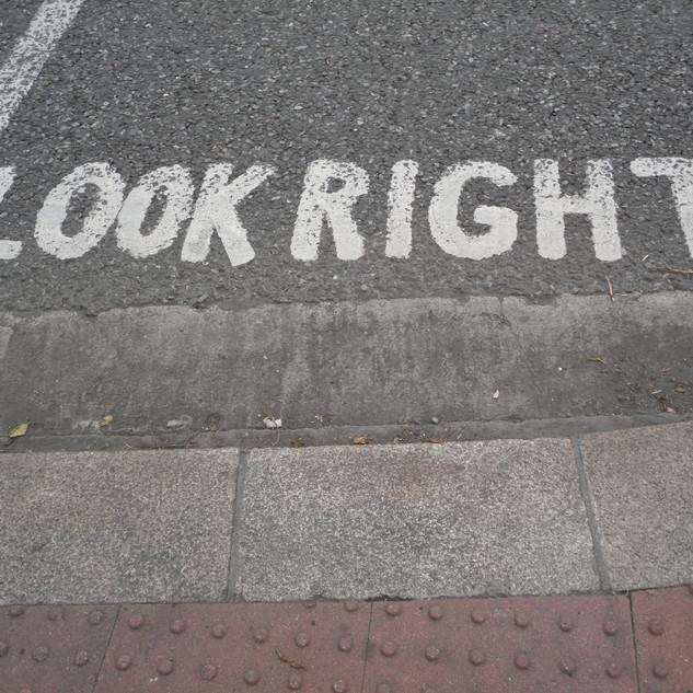 Look down when crossing!