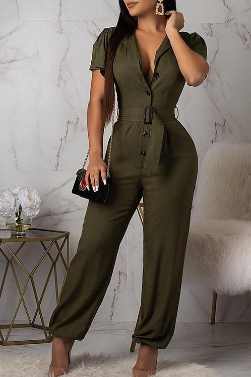 Casual Army Green Jumpsuit