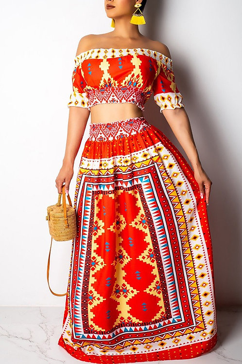 Multi-Colored Two-Piece Skirt Set
