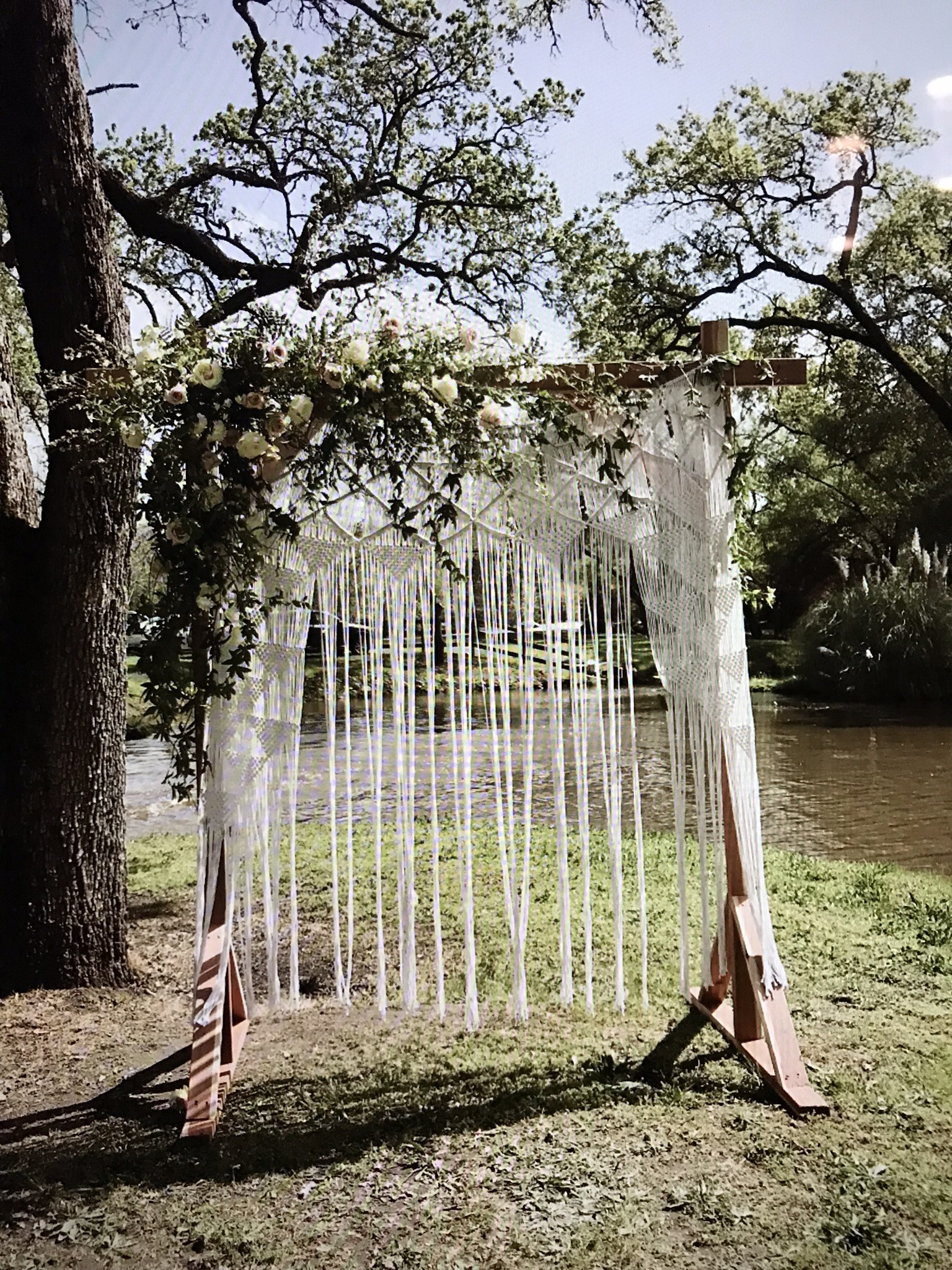 Wood backdrop frame and Macrame