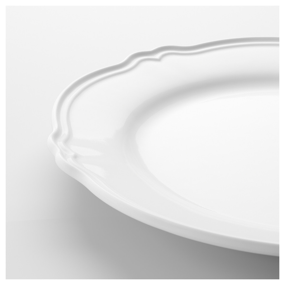White Scalloped Dinner Dishes