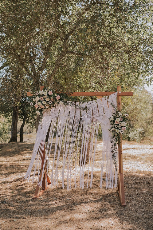 Wood backdrop frame with Macrame