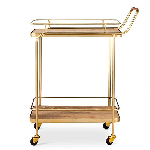 Gold and wood bar cart
