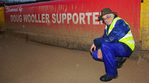 Sponsor Doug Wooller With His Banner : Image By Ian Groves
