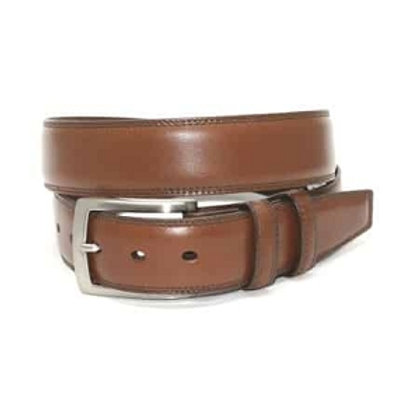 Torino Italian Burnished Kipskin Belt-Brown