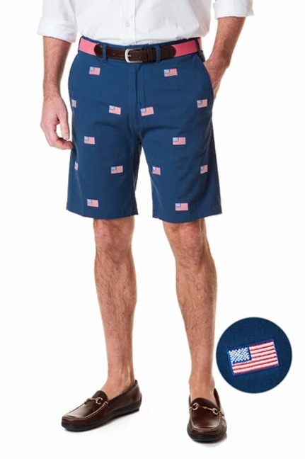 Castaway Cisco Short Stretch Twill - Navy with American Flag