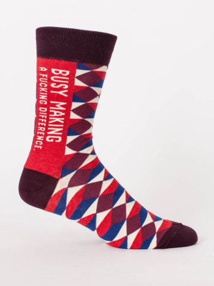 Blue Q Men's Crew Socks-Busy Making A F**King Difference