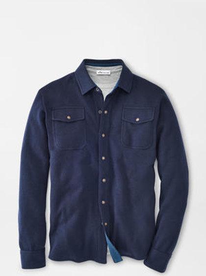 Peter Millar Cotton/Wool Interlock Shirt Cardigan- Color Navy