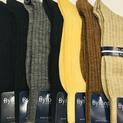 Byford Mens Solid Merino Wool Mid Calf Socks
