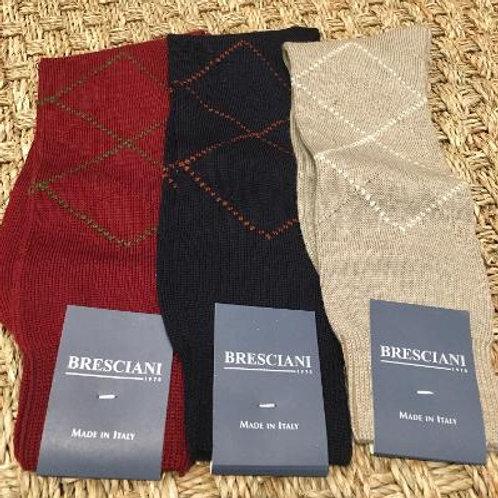 Bresciani Mens Fine Line Argyle Mid Calf Socks