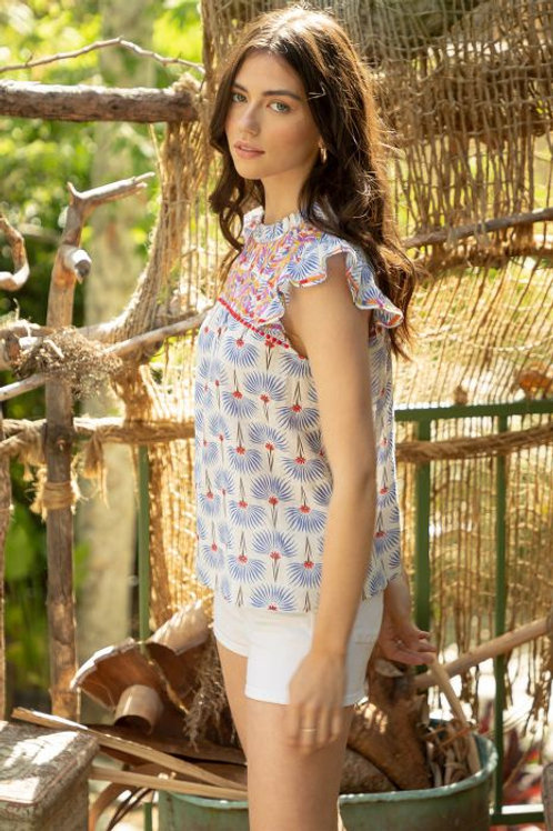 Print Embroidered Top