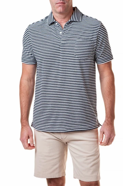 Castaway Terry Cloth Polo-Navy/White Stripe