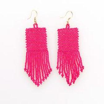 Hot Pink Seed Bead Earring
