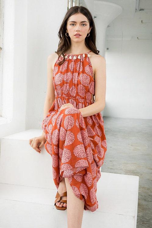 Polka Dot Halter Midi Dress