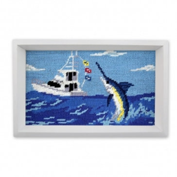Smathers and Branson Offshore Fishing Needlepoint Valet Tray