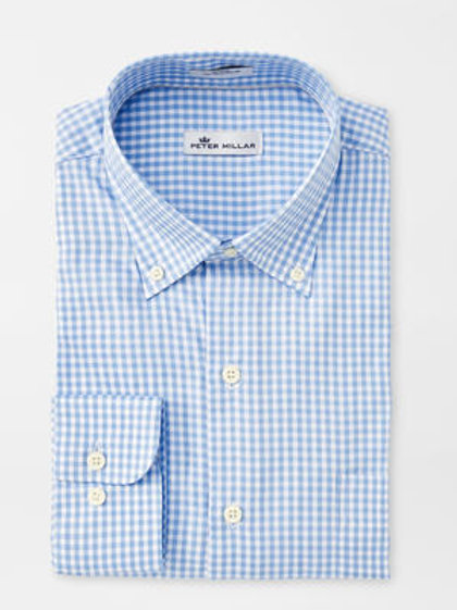 Peter Millar Crown Soft Gingham Sportshirt in Cottage Blue