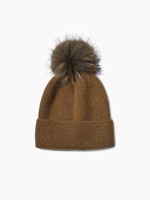 Cashmere Blended Ribbed Knit Pom Pom Hat