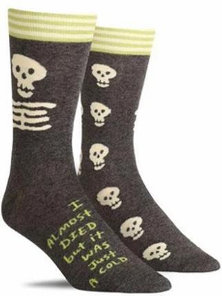 Blue Q Men's Crew Socks-I Almost Died Socks
