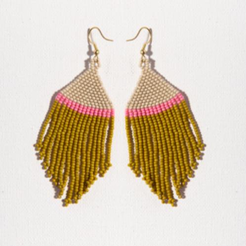Ivory Pink Citron Fringe Earring