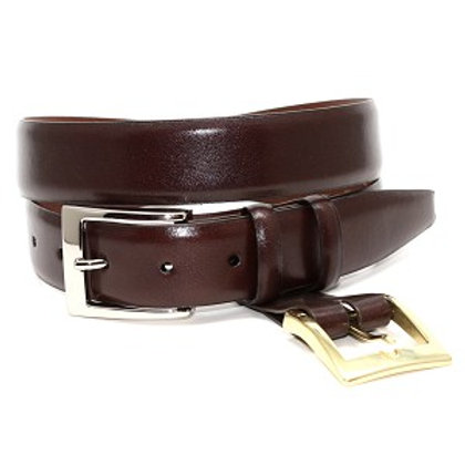 Torino Italian Calfskin Belt with Interchangeable Buckle-Brown