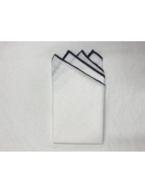 Linen Pocket Square with Contrast Tipping-Prefolded