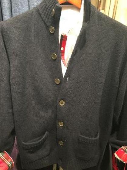 Alan Paine Lanford Cardigan Sweater-Navy Blue
