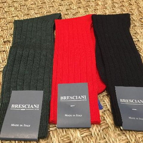 Bresciani Mens Ribbed Merino Wool Mid Calf Socks