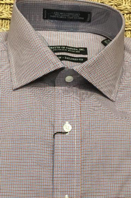 Forsyth of Canada Mens Wrinkle Free Dress Shirt-Garnet Mini Check