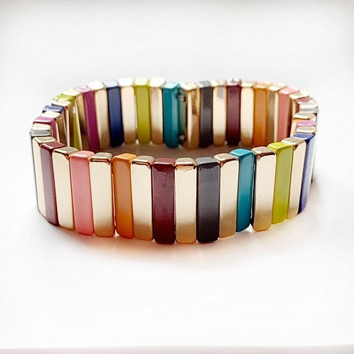 Tile Bracelet- Gold/Rainbow Bar Large