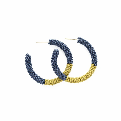 Seed Bead Hoop - Ink and Alloy
