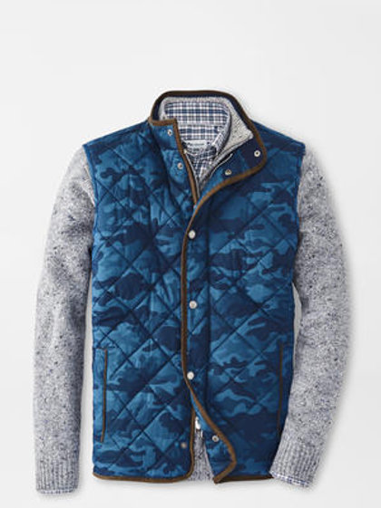 Peter Millar Essex Quilted Travel Vest-Color- Navy Camo