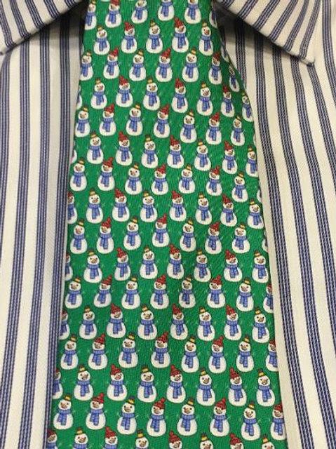 Peter Blair Silk Snowman Tie-Green
