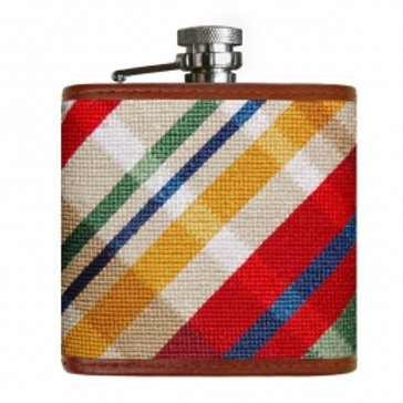 Smathers & Branson Madras Needlepoint Flask