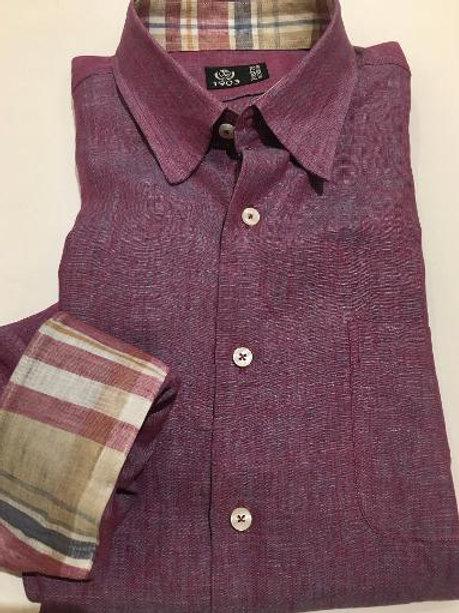 "Forsyth of Canada Italian Linen Shirt in ""Grape"""