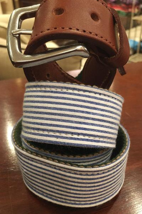 T.B. Phelps Seersucker Belt-Light Blue