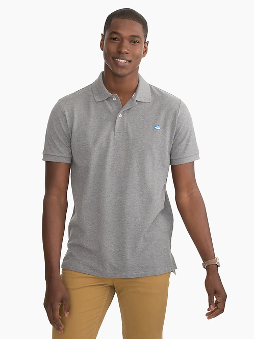 Southern Tide Mens Skipjack Polo in Heathered Gray
