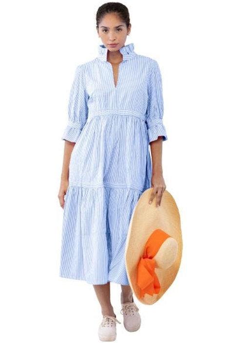 Stripe Wash & Wear Tiered Midi Dress - Teardrop
