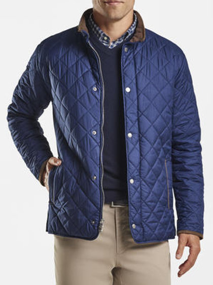 Peter Millar Suffolk Quilted Travel Coat-Color Navy