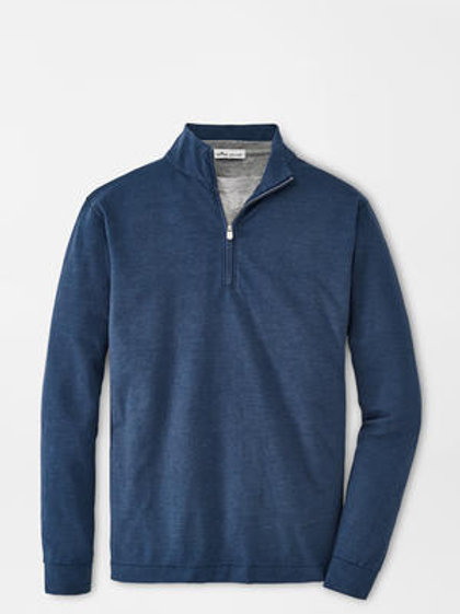 Peter Millar Slub Cotton Blend 1/4 Zip in Deep Sea